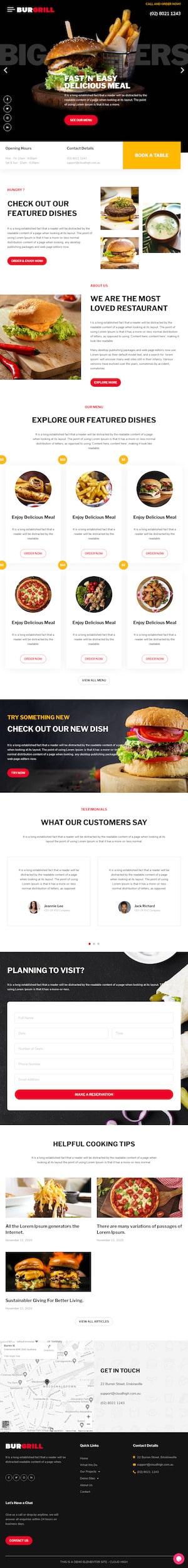 Burger Restaurant - Elementor Template Website - Cloud High Sydney WordPress Websites