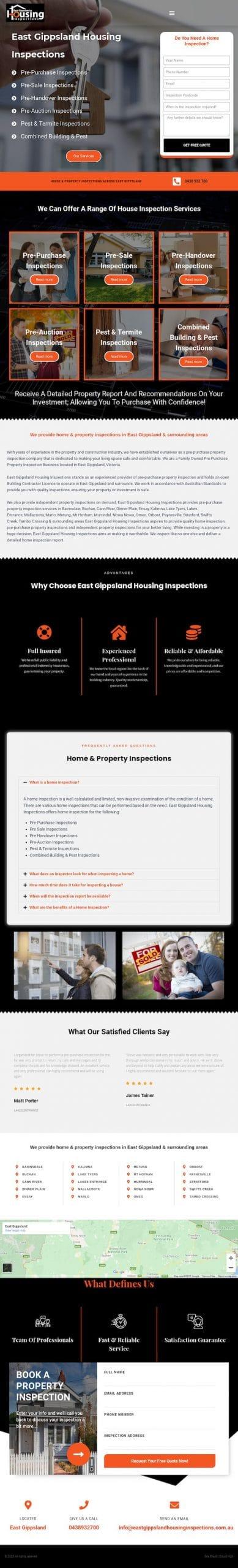 East Gippsland Housing Inspections - WordPress Website Designer Sydney - Cloud High