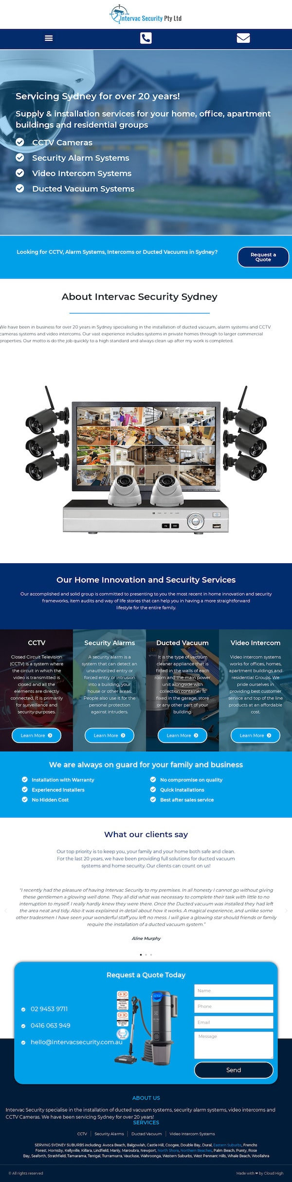 Intervac Security - WordPress Website Design Sydney - Cloud High