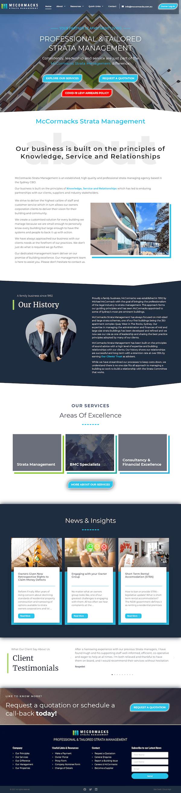 McCormacks Strata Management - McCormacks - Cloud High Website Design