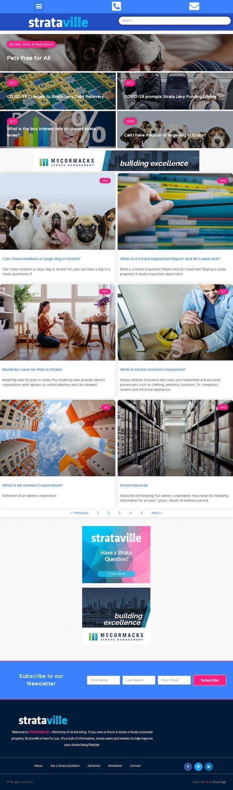 Strataville - WordPress Website Design Sydney - Cloud High